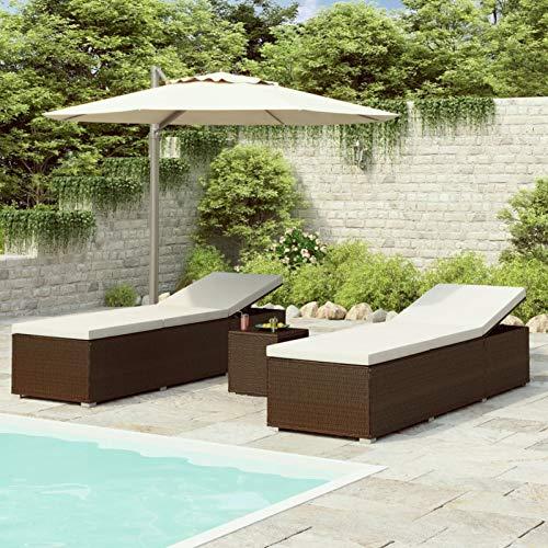 Ksodgun Tumbonas de jardín y mesita 3 Piezas Mecedoras Jardín de Exterior Jardín Playa Sillas Relax ratán sintético marrón