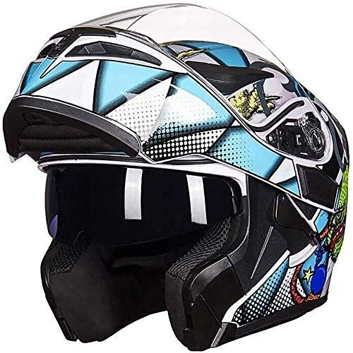 LNSOO Casco de Motocicleta con Bluetooth Integrado, Aprobado por Dot, antirreflejo, Cara Completa, Doble Visera, Bicicleta Casco de Motocicleta Todoterreno Walkie Talkie Radio FM Casco Deportes al