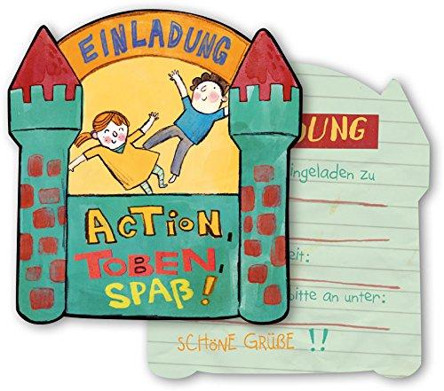 DH-Konzept 6 Einladungskarten * Indoor Spielplatz * für eine Übernachtungs-Party Kinder Geburtstag Party Einladung Einladungen Karte Mottoparty