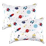 IBraFashion Kids Toddler Pillowcases 100% Cotton 14x19 2 Packs Fits Kid Toddler Bedding Pillow 14x19, 13x18 Small Pillow (White, Rockets Outer Space Stars)