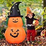Tangkula 5 Ft Halloween Inflatable LED Pumpkin with Witch Hat, Blow Up Flashing Lights 2 Pumpkins, Outdoor Indoor Holiday Decorations for Home Yard Party, Halloween Inflatable Lights Pumpkin