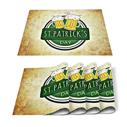 Sweet A Home Placemats for Dining Table Retro Desifn Cheer Beer Xmas Table Mats Set of 6, Table Decoration Holiday Banquet Kitchen Dining Non Slip Washable