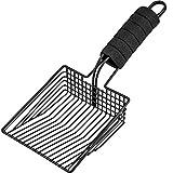 BasicForm Fast Sifting Cat Litter Scoop – Stainless Steel Metal Cat Litter Scooper with Deep Shovel, Durable Cat Poop Scooper - Comfy Foam Handle - Black