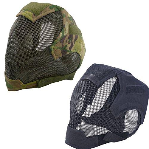 GADA Taktische Paintball Maske Airsoft Softair Mesh Schutzbrille Stahl Überbrille Gesicht Schutzgitter Abdeckung (Camouflage)