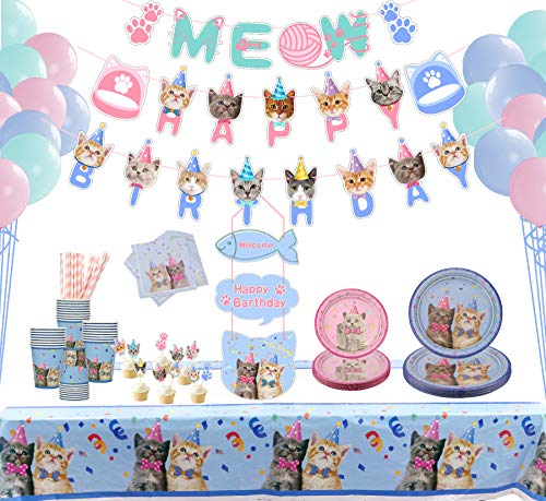 LSJDEER 210 Pcs Cat Party Supplies Decorations Set, Kitten Disposable Dinnerware Including Happy Birthday Banner Macaron Balloons Dinner Plates Dessert Plates Napkins Cups Cupcake Toppers - Serves 20