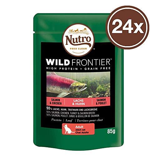 Nutro Katzenfutter Nassfutter Wild Frontier Adult 1+ Lachs & Huhn in Pastete, 85g (24 Beutel)