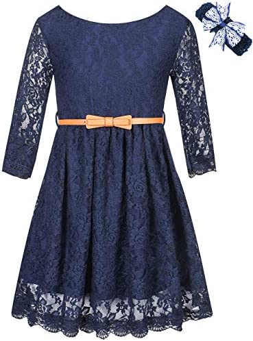 Girls Princess Dress Lace Flower Party Wedding Summer Dress Clothes Navy 13T 14T 13 14 Years product image