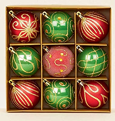 Set Of 9 Green & Red Gem & Glitter Christmas Tree Baubles 6cm By Premier