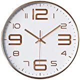 TOKTEKK 12 inch Quartz Wall Clock-Automatic Digital Non-Ticking Wall Clock Battery Operated for Home/Office/School/Living Room/Bedroom/Kitchen Decor Easy for Read for Adults Kids(White Rose Gold)