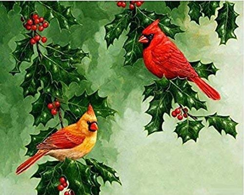 5D Diamond Painting Kits for Adults Full Drill Cardinals in Christmas Holly Bushes Embroidery Rhinestone Painting
