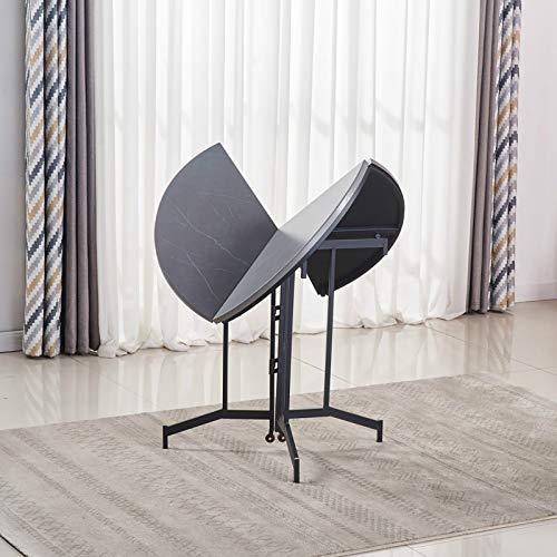 BODLRY Mesa auxiliar redonda con patas plegables para interiores y exteriores, mesa de comedor de acero resistente de alta calidad, 80 x 80 x 75 cm, color gris