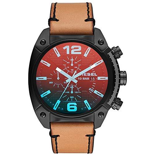 Diesel Herren Analog Quarz Uhr mit Leder Armband DZ4482