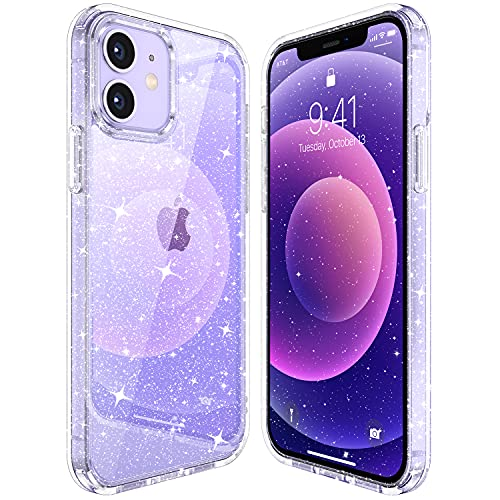 """CASEKOO Crystal Glitter Designed for iPhone 12 Case, Designed for iPhone 12 Pro Case [Never Yellow] Clear & Shockproof Protective Sparkle Phone Cover Thin Slim Case (6.1"""") 2020- Twinkle Stardust"""