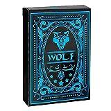 CUHAWUDBA Spiel Karten Wolf Wasserdicht Schwarzer Kunststoff Poker Geschenk Karten zum Sammeln -