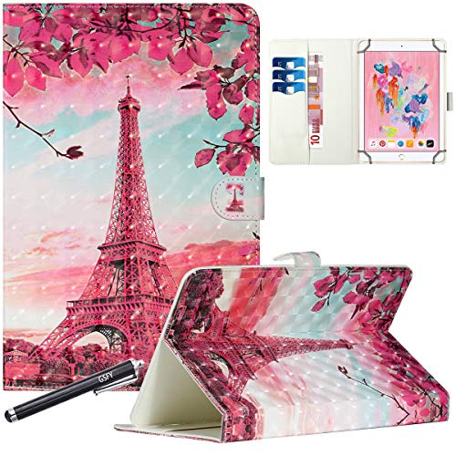 8 Inch Universal Case, GSFY Magnetic Folio Stand Protective Case Leather Pocket Cover for iPad Mini/Samsung/Kindle/Huawei/Lenovo/Nook 7.9 8.0 8.4 Inch Tablet - 3D Red Tower