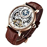 Bestn Mens Luxury Skeleton Automatic Mechanical Wrist Watches Leather Moon Phrase Luminous Hands...