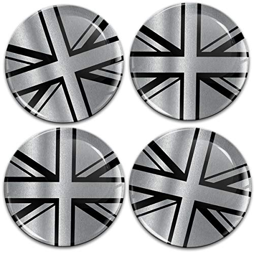 Biomar Labs® 4 x 60mm Aufkleber 3D Silikon UK GB United Kingdom Union Jack Flagge Fahne Silber Schwarz Für Radkappen Nabenkappen Radnabendeckel Rad-Aufkleber Nabendeckel A 11060
