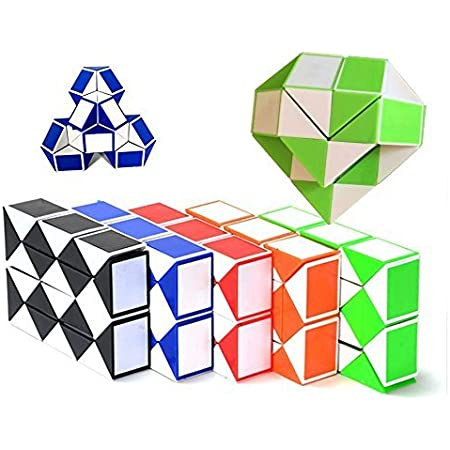 EasyGame - [5 Packed Twist Puzzle Snake 42x2.4x1.6cm Collezione di 5 Fun Snake 24 WedgesToys Magic Ruler Cube Twist Puzzle Games (5 in 1)