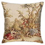 KIILA Aubusson Tapestry French 18Th Century Home Decorative Throw Pillow Cases Sofa Couch Cushion Throw Pillow Covers 18x18 Inch