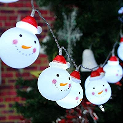 Bestllin LED Snowman String Starry Light for Gardens, Home, Wedding, Christmas Party, Battery-Powered, Metal 110 W, Warm White