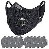 PMJ スポーツマスク バルブ付き マスク PM2.5 活性炭フィルター 通気性 防風マスク (ブラック)