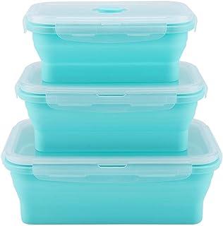 Boîte à lunch pliable portative en silicone de 350/500/800 ml, boîte à lunch pliable au micro-ondes, contenant de nourritu...