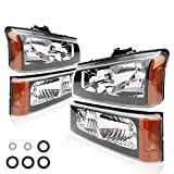 BRTEC Headlight Assembly Kit for 2003 2004 2005 2006 for Chevy Avalanche 1500 2500; 2003-2006 for Chevy SIlverado 1500; 2003 2004 Silverado 2500; 2003-2007 Silverado 2500 HD Classic Headlamps