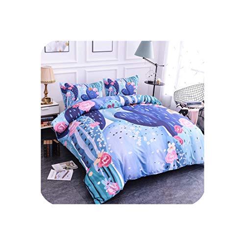 Goods-Store-uk Home Textile Plant Cactus Juego de ropa de cama Juego de funda de edredón y funda de almohada de 2/3 piezas, tamaño queen y king size, Sxj0363., US King 264x228cm