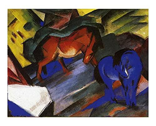 Cuadro en Lienzo Franz Marc Caballo rojo y azul Lienzos Decorativos xxl, Cuadros Decoracion Salon, Decoracion de Pared,Laminas para Cuadros (30x39cm 12 'x15', Sin Marco)
