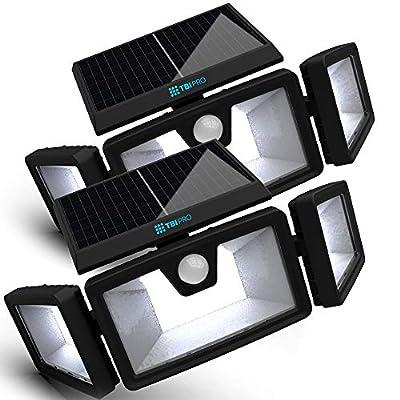 Security Solar Lights Outdoor 216 LEDs 2200LM - Wireless LED Solar Flood Lights Outdoor Motion Sensor 40ft - Adjustable 355° Widest View - Spot Lights Solar Powered 2200mah Battery IP65 TBI (2 Pack)