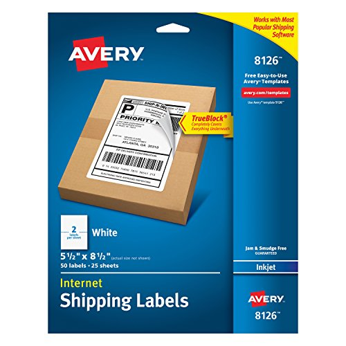 Avery Shipping Address Labels, Inkjet Printers, 50 Labels, Half Sheet Labels, Permanent Adhesive, TrueBlock (8126), 1 Pack, White