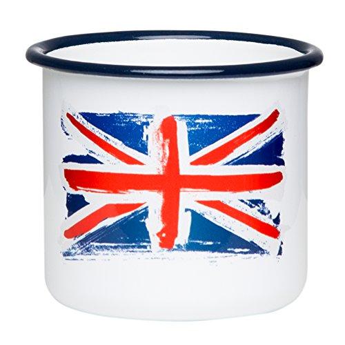 UK Emaille Tasse mit Union Jack Flagge, leicht & bruchsicher, für England / Großbritannien Fans - von MUGSY.de