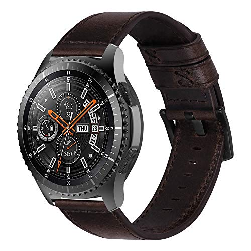 iBazal Bracelet Galaxy Watch 46mm Cuir 22mm Bandes Compatible avec Samsung Galaxy Watch 3 45mm/Gear S3 Frontier Classic Band Remplacement pour Huawei Watch GT 46mm,Ticwatch Pro/E2/S2 - Café
