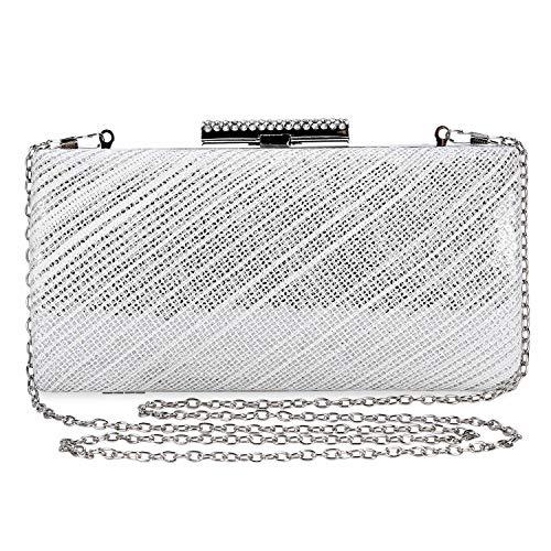 Selighting Damen Clutches Glitzernd Abendtasche mit Kettenriemen für Hochzeitsfeier Party (Silber)