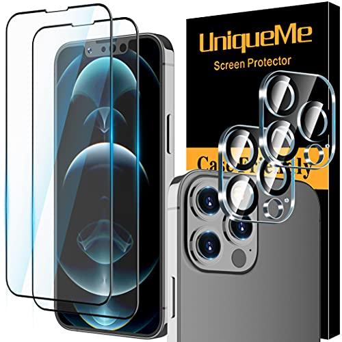 [4 Pack] UniqueMe Compatible con iPhone 13 Pro Max [2 Pack] Protector de Pantalla y [2 Pack] Protector de lente de cámara Cristal Templado [Sin Burbujas] HD Vidrio Templado cobertura completa ✅