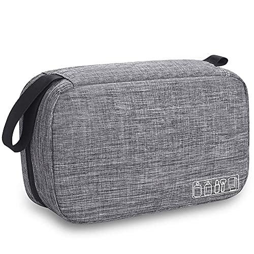 Travel Toiletry Bag Dopp Kit, Waterproof Hanging Toiletries Shaving Organizer Hygiene Bag for Women Men Compact Portable Gym Shower Bathroom Toiletry Storage Bag (Gray)