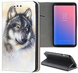 Samsung Galaxy S6 Hülle Premium Smart Einseitig Flipcover Hülle Samsung S6 Flip Case Handyhülle Samsung S6 Motiv (1244 Wolf Grau)