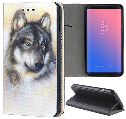 Samsung Galaxy S5 / S5 Neo Hülle Premium Smart Einseitig Flipcover Hülle Samsung S5 Neo Flip Case Handyhülle Samsung S5 Motiv (1244 Wolf Grau)