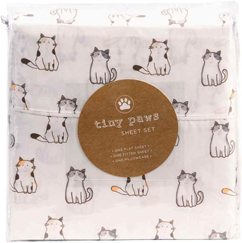 Tiny Paws Grey And Orange Kitty Cat Themed Cute Bed Sheets Queen