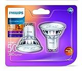 Philips – Bombilla LED (cálida luz 5,5 W, de cristal, luz LED regulable, Reemplazo para focos halógenos de 50 W), vidrio sintético, transparente, GU10, 5.5 wattsW 240 voltsV