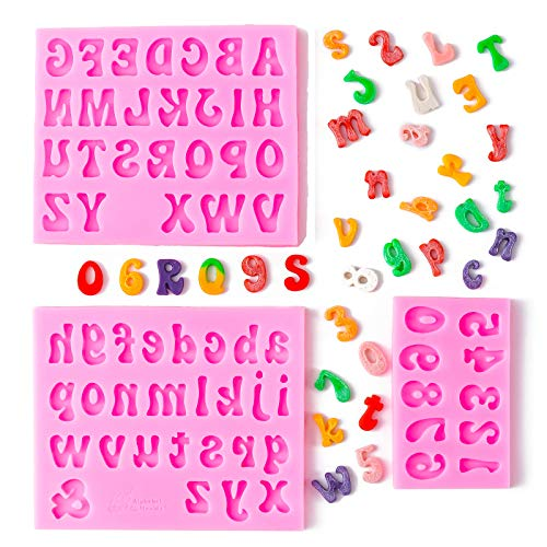 3 Pieces Letters Silicone Molds and Number Molds, Candy Fondant Chocolate Molds Baking Letter Molds, Uppercase Lowercase Number Molds for Making Birthday cake Decorations, Ice Cube Tray