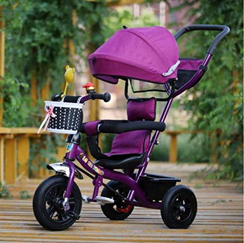 Ccgdgft Baby Trolley Kinderen driewieler kinderwagen/1-3-5 jaar oude baby kinderwagen Baby kinderwagen, paarse fiets(A,B,C) (kleur: A)