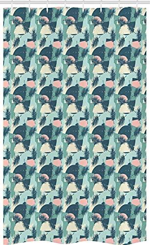 ABAKUHAUS Tropisch Schmaler Duschvorhang, Hawaiian Blätter & Pflanzen, Badezimmer Deko Set aus Stoff mit Haken, 120 x 180 cm, Schiefer-Blau Multicolor