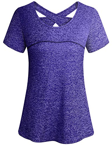 Gym Shirts for Women,Cucuchy Workout Tops Fitness Yoga Quick Dry Top Cool Flattering Open Back Crew Neck Exercise Clothes Flowy Elastic Short Sleeve Athletic Wear Breathable Pilates T-Shirt Purple M