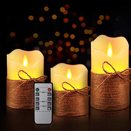 Yinuo Mirror Flameless Candles, LED Battery Operated Ivory Pillar Candles Real Wax Flickering Moving Wick Electric Candle Sets with Hemp Rope Remote and Cycling 24 Hours Timer, 4' 5' 6' Pack of 3