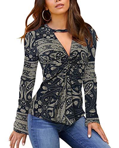 YOINS Camiseta Sexy para Mujer Ahuecar Blusa Elegante Translúcido de Gasa Ligera Tops de Manga Larga Cuello V D-Negro EU44