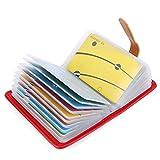 10 Colori Porta Carte di Credito Pelle per Donna Uomo - 26 Slot (Rosso#2)