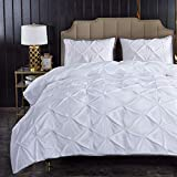 Litanika White Pinch Pleat Duvet Cover Queen (90x90 inches), 3 Pieces (1 Duvet Cover, 2 Pillow Cases) Bedding Set, Smooth Microfiber Pintuck Duvet Cover Set with Zipper Closure, Corner Ties