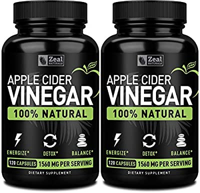 Zeal Naturals Natural Raw Apple Cider Vinegar Capsules (1560mg 120 Capsules) Apple Cider Vinegar Pills w Cayenne Pepper, Weight Management & Bloating Support from Zeal Naturals