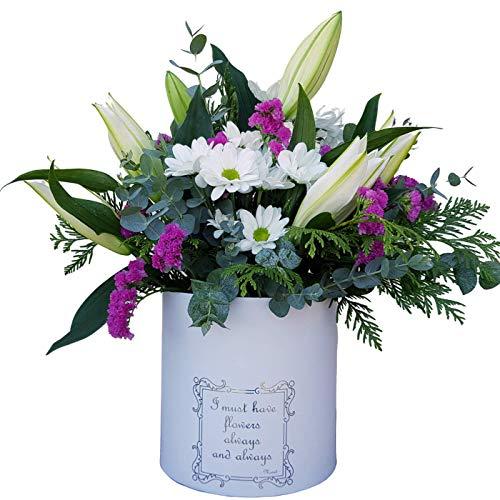 Botanic Dessign Ramo de flores naturales frescas variadas ENTREGA EN 24 HORAS DE LUNES A VIERNES con Lilium blanco puro, dos tallos de Margarita blanca y tallos de Statice y Eucalipto